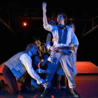 Christopher Kehoe, Derek Lee Miller, Wade A. Vaughn, Ryan Hill, Jenna Wyse in .faust (Photo by Richard Fleischman for Sandbox Theatre 2009)